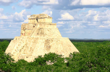 Antique mayan ruins in Mexico over green forest Stock Photo