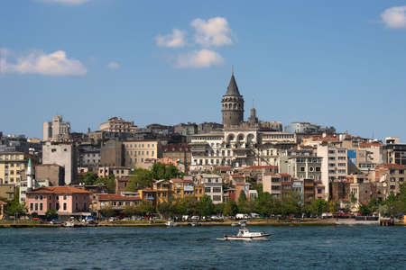 constantinople ancient: Tower over city view Istanbul with blue river