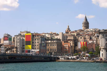 Overview Istambul with Galata tower over blue sky