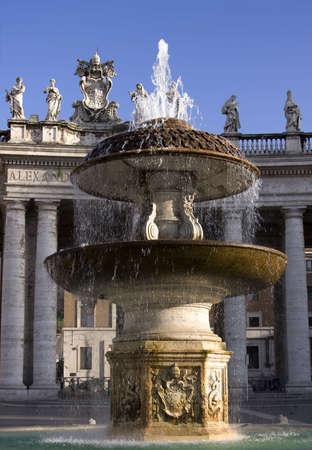 Beautiful fountain near Vatican over blue sky Stock Photo - 3222679