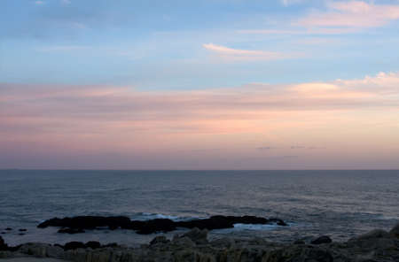 afterglow: Atlantic ocean in Porto at the evening