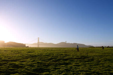 Sports game over silhouette Golden Gate bridge Stock Photo