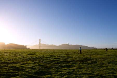 Sports game over silhouette Golden Gate bridge Stock Photo