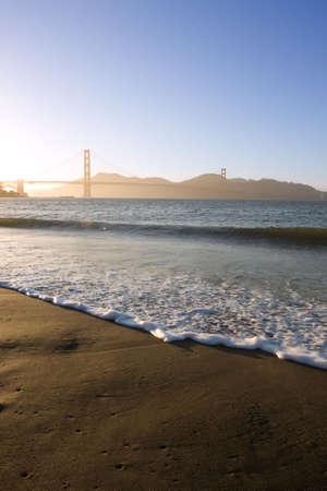 Waves near Golden Gate bridge at dusk