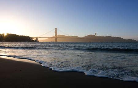 Soft waves at Golden Gate bridge over dusk