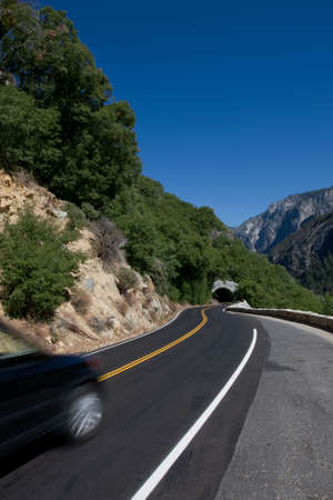 Scenic road in California with car in motion