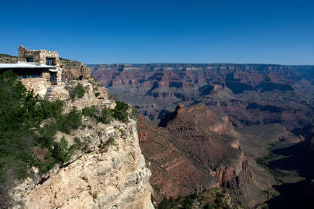 Hotel on the Grand Canyon over blue sky Stock Photo
