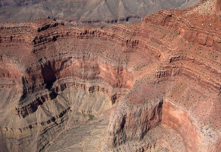 Bird's-eye view to the Grand Canyon from helicopter