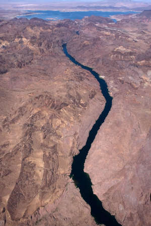 View from airplane to the Colorado river Stock Photo