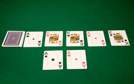 Winning combination in texas poker on the green table