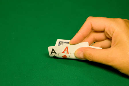 Two aces on pre-flop in poker casino