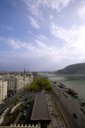 Overview of river Dunube in Budapest with blue sky
