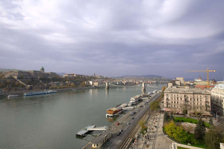 Overview of Budapest city with blue sky and river