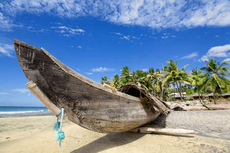 Fisherman boat on the sunny beach with green palm near ocean Stock Photo - 4247294