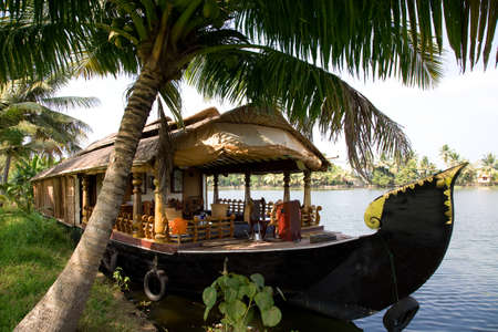 backwaters: House boat in India over tropical palm on the river