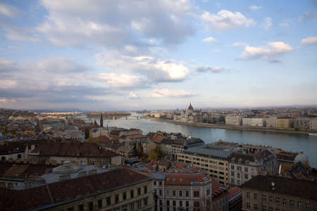 Budapest parliament view over blue river Danube