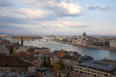 River Danube over budapest parliament with blue sky