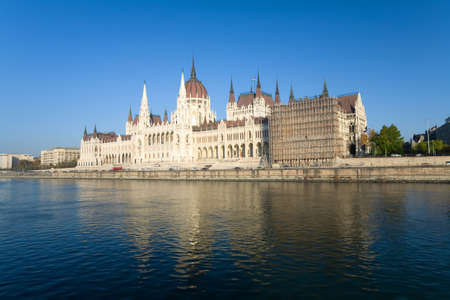 River Danube with blue sky and Budapest parliament