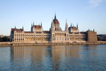 Budapest parliament building over river and blue sky