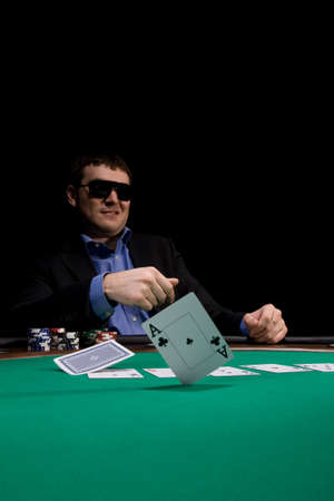 hold'em: Two aces fold in texas holdem poker at Las Vegas casino