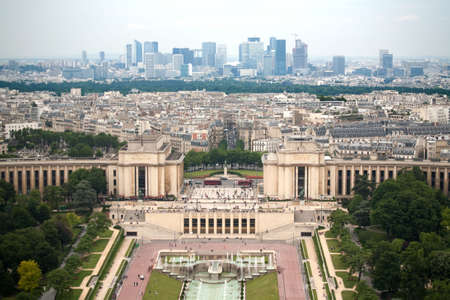Birds eye view from Eiffel tower on Place de Varsovie, Pont d'Iena and Challiot Palace
