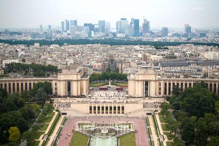 birds eye: Birds eye view from Eiffel tower on Place de Varsovie, Pont dIena and Challiot Palace