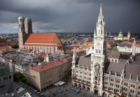 Munich Marienplatz at storm