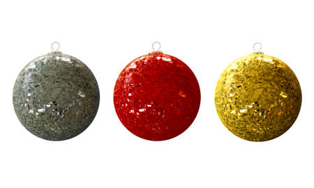 splinters: A set of luxurious Christmasballs, with broken glass
