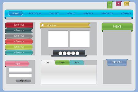 Glossy web site elements Illustration