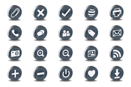 Mono Inset Various Vector Icons Illustration