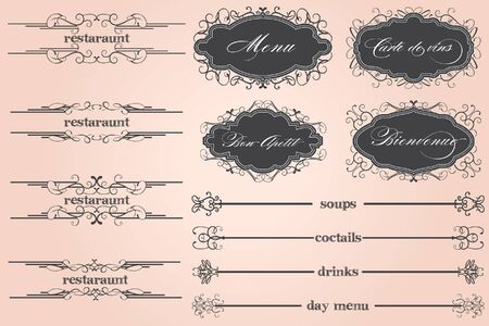restaraunt: Bienvenue Restoraunt Menu Illustration