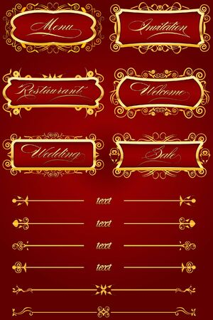 Royal Red Retro Decorative Elements IV Vector