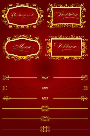 Royal Red Retro Decorative Elements III Vector