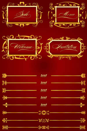 Royal Red Retro Decorative Elements II Illustration