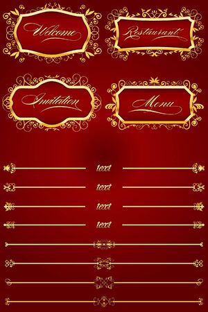 Royal Red Retro Decorative Elements I