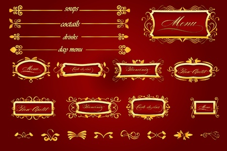 Royal Red Restaurant menu with caligraphic elements Vector