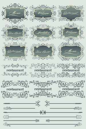 Blue vintage restaurant labels and dividers Illustration