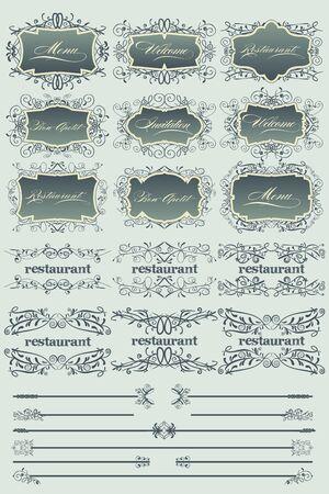 Blue vintage restaurant labels and dividers Illustration