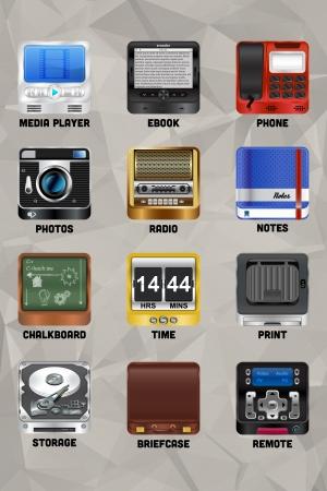 clock radio: Doce iconos vectoriales de alta calidad para su ordenador o dispositivo m�vil Puede exportar sin perder calidad en cualquier formato de mapa de bits o formato de icono para sus necesidades