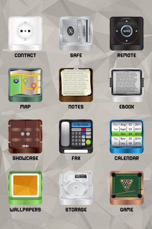 Twelve  high quality vector icons for your computer or mobile device  You can export without loosing quality in any bitmap format or icon format for your needs