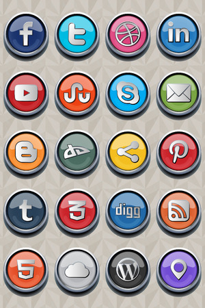 Package include 20  twenty  of most used social icons in websites Vector images are in eps 10 format, which make them usable for developers  You can use it on every background,if you don t like this one that I use  Change size and colors if you like witho