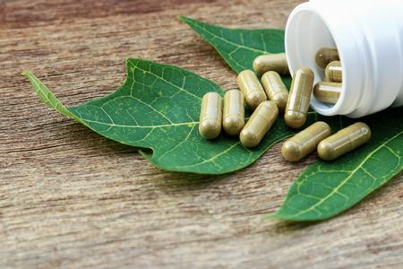herbal plant: Herbal medicine in capsules