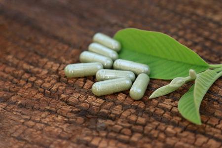 Herbal medicine in capsules for healthy eating
