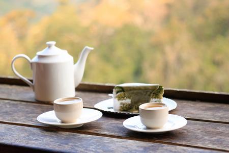 Green tea cake with tea on high cafe mountain