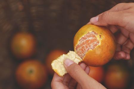 hand peeling orange in farm 版權商用圖片