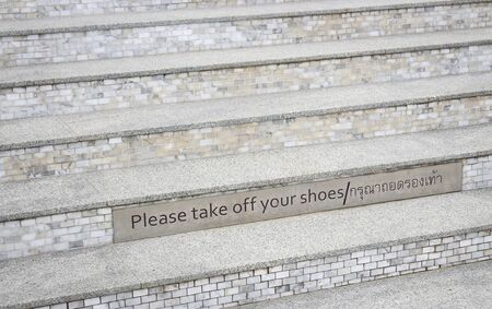 Ladder with take of your shoes for showing ni walking