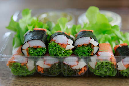 Vegetable salad roll for health care eating Reklamní fotografie
