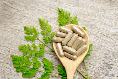Herbal medicine capsule from organic herb for health care eating