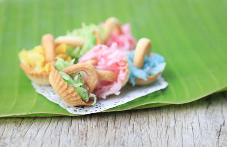 Thai sweet dessert on banana leaf for eating in freetime