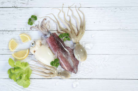 top view of fresh seafood with ingredient for cooking in home